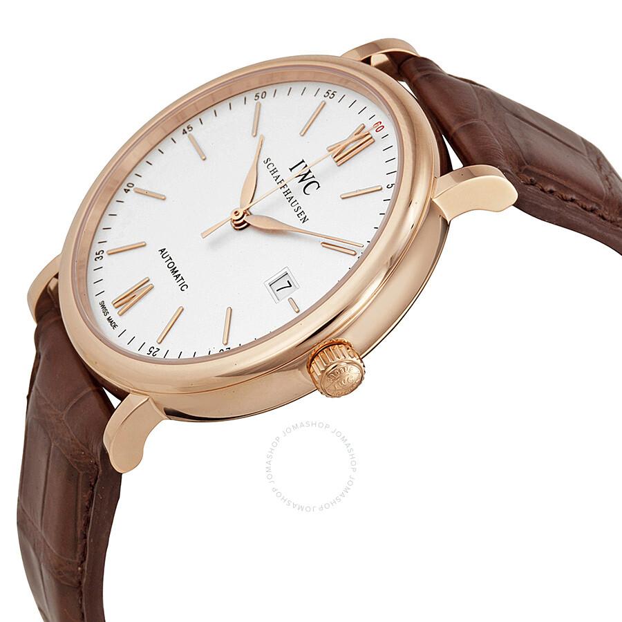 Iwc portofino automatic silver dial 18kt rose gold men 39 s watch 3565 04 portofino iwc for Watches rose gold