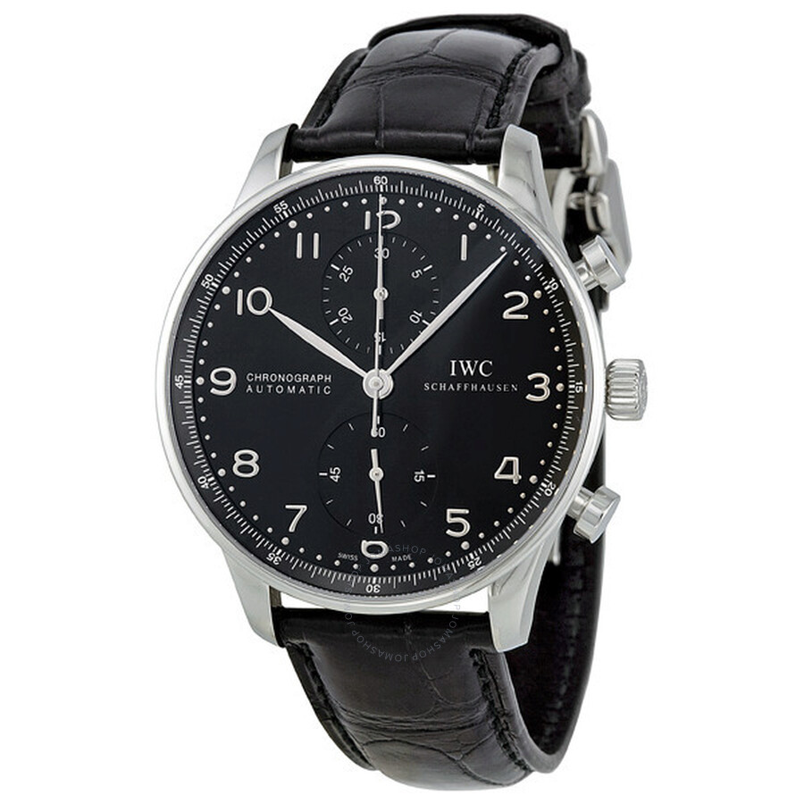 8757a6bdef5 IWC Portuguese Automatic Chronograph Black Dial Men s Watch 3714-47 Item  No. IW371447