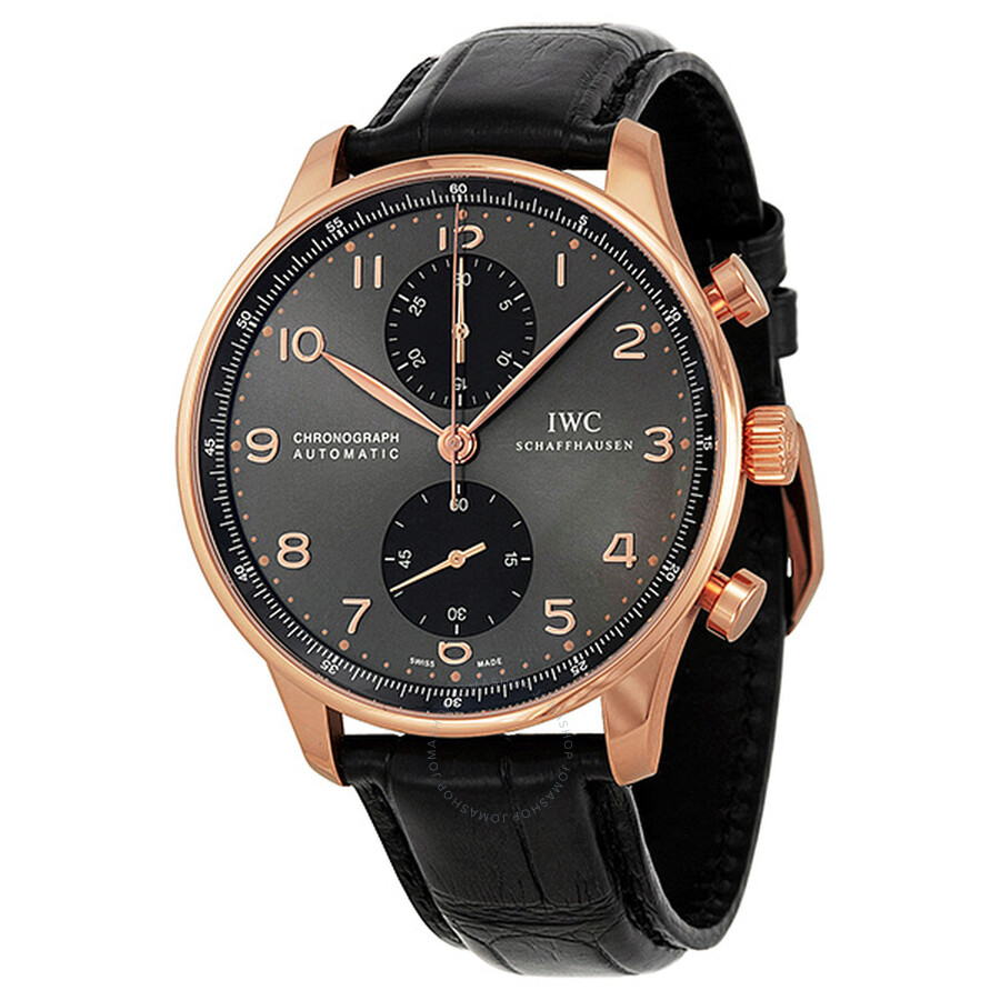 52961d14a48 IWC Portuguese Grey Dial Chronograph Rose Gold Leather Automatic Men s Watch