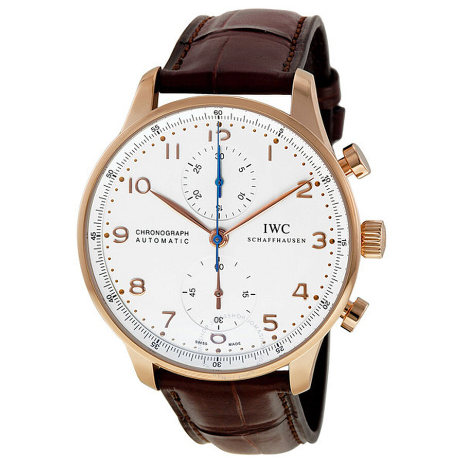1684f684e1f IWC Portuguese Silver Dial Chronograph Rose Gold Leather Automatic Men s  Watch IW371480 ...