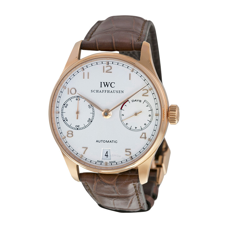 iwc portuguese silver 18kt gold brown leather