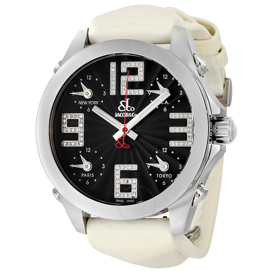 Jacob co five time zone black dial diamond men 39 s watch jcm 82ss five time zones jacob co for Jacob co watches