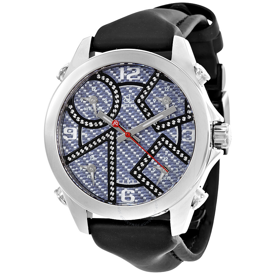 Jacob co five time zone carbon fiber dial diamond men 39 s watch jcm 97da five time zones for Jacob co watches