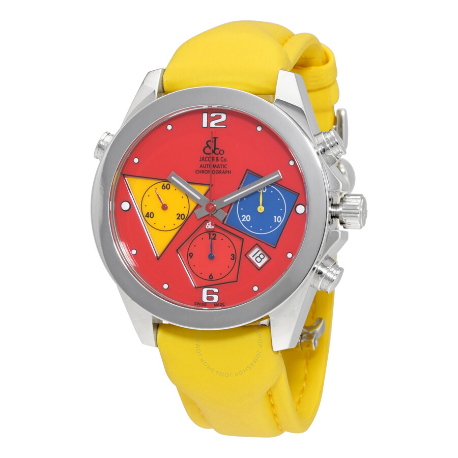 Jacob and co chronograph red dial automatic men 39 s watch acm 3 jacob co watches jomashop for Jacob co watches