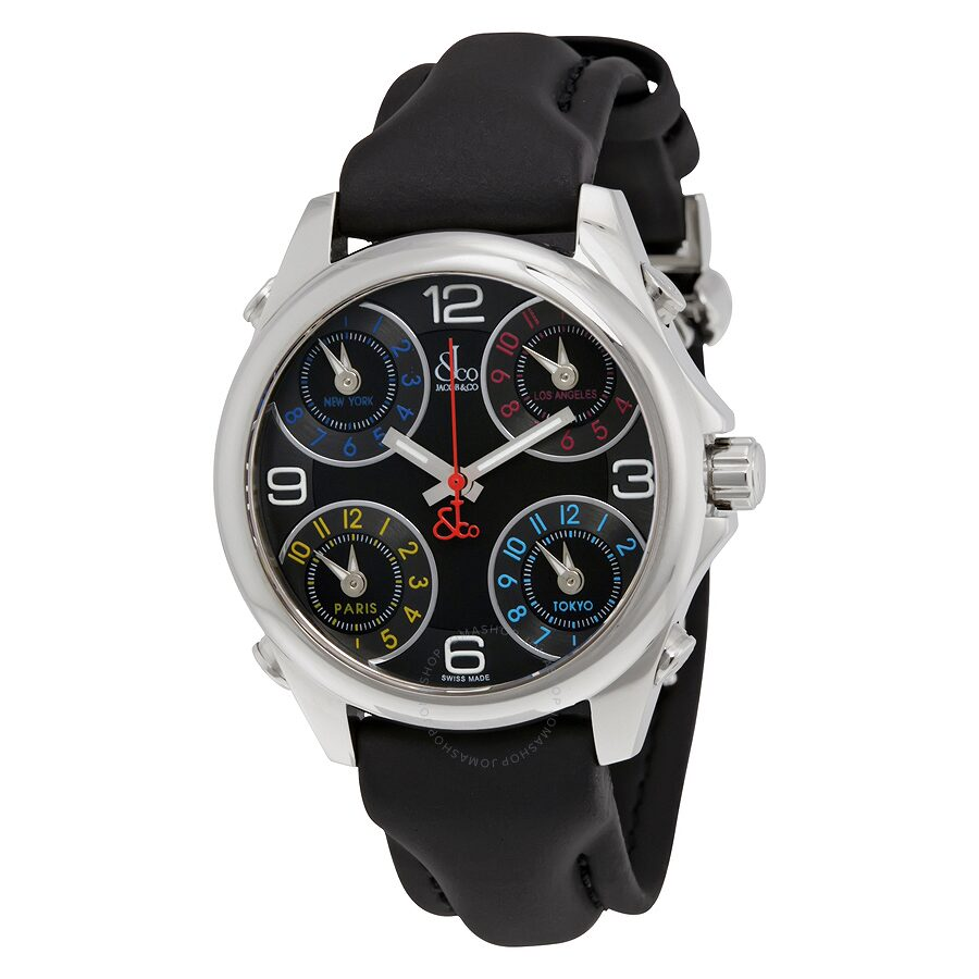 Jacob and co five time zone black dial black rubber men 39 s watch jc 164 five time zones for Jacob co watches