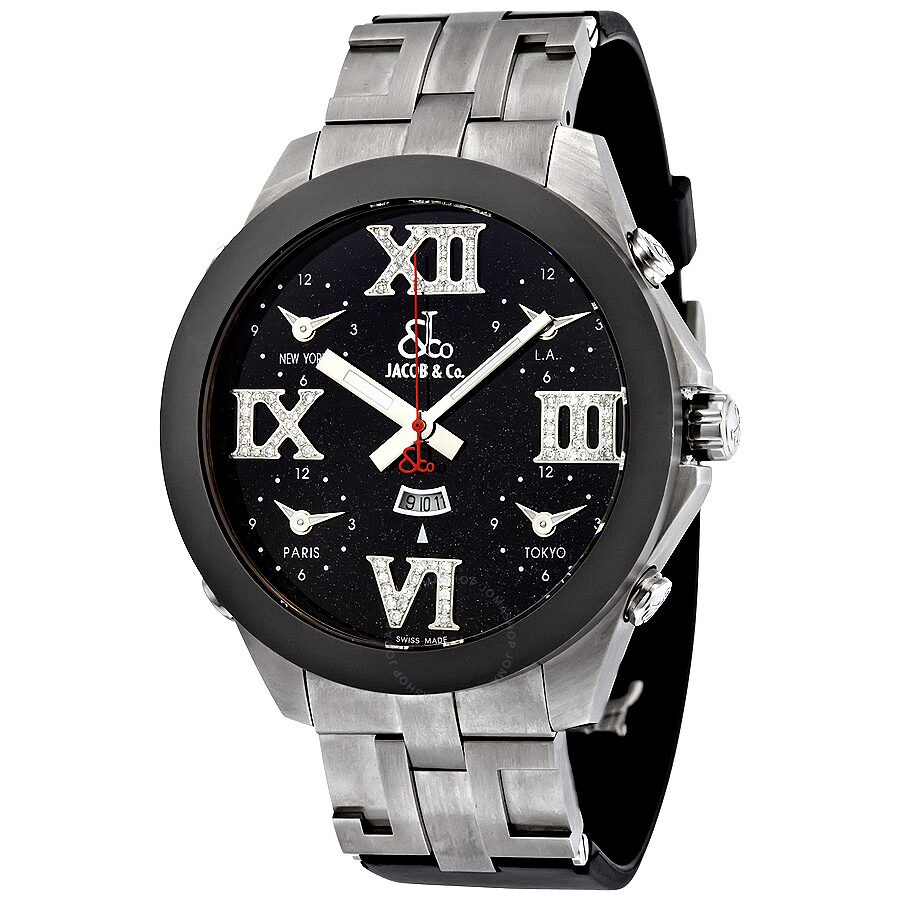 Jacob and co five time zone black dial diamond automatic men 39 s watch jc 82r five time zones for Watches jacob and co