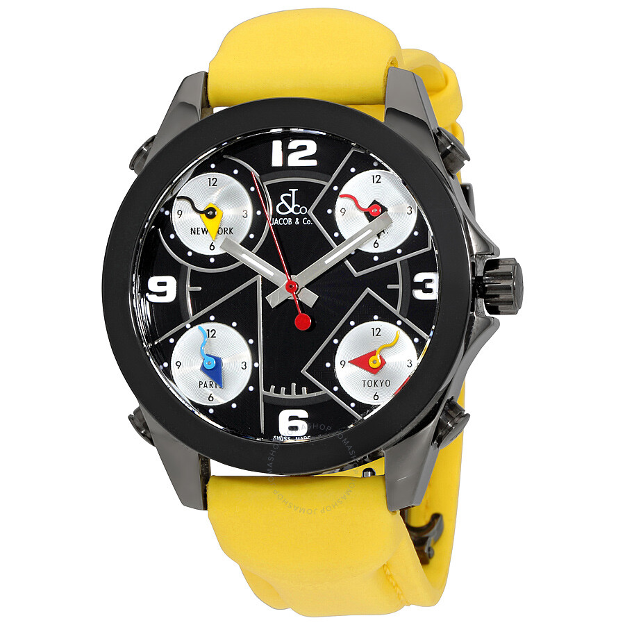 Jacob and co five time zone black dial yellow strap men 39 s watch jcm 71bc five time zones for Jacob co watches