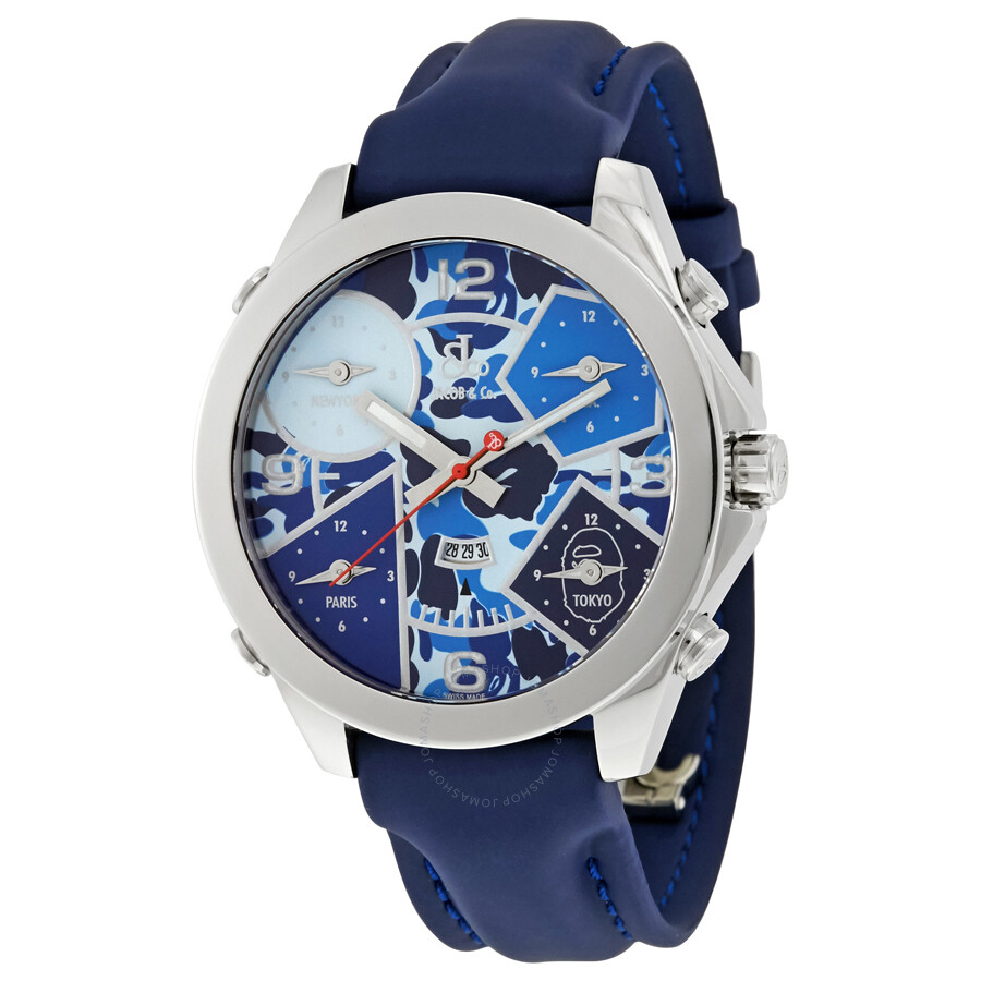 Jacob and co five time zone blue camouflage dial men 39 s watch jc 8 five time zones jacob for Jacob co watches