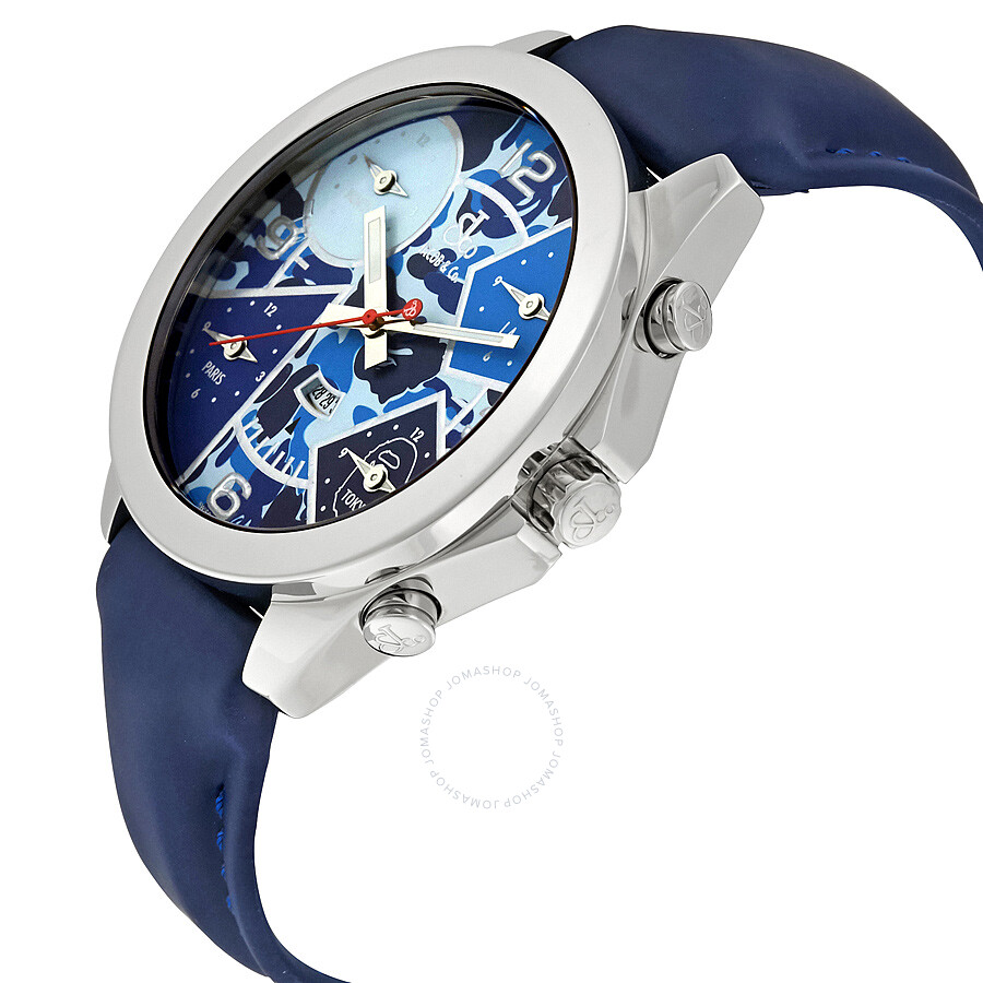 jacob and co five time zone blue camouflage s