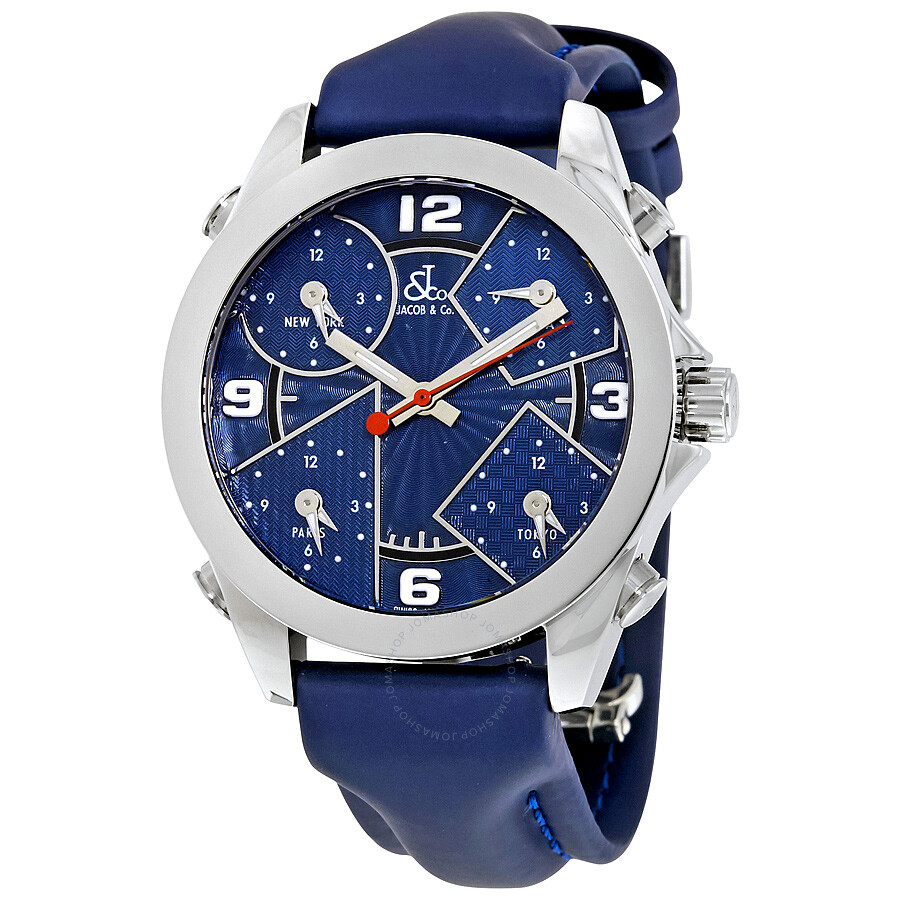 Jacob and co five time zone blue guilloche dial men 39 s watch jcm 5 five time zones jacob for Jacob co watches