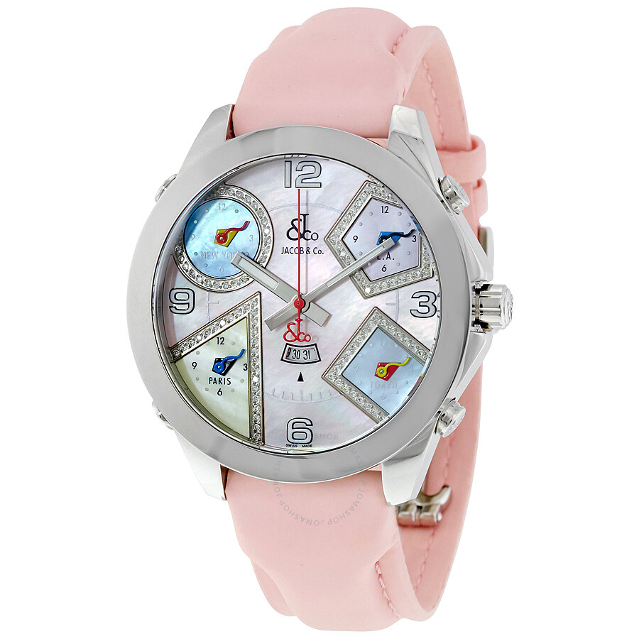 Jacob and co five time zone mother of pearl diamond dial ladies watch jc 41da five time zones for Jacob co watches