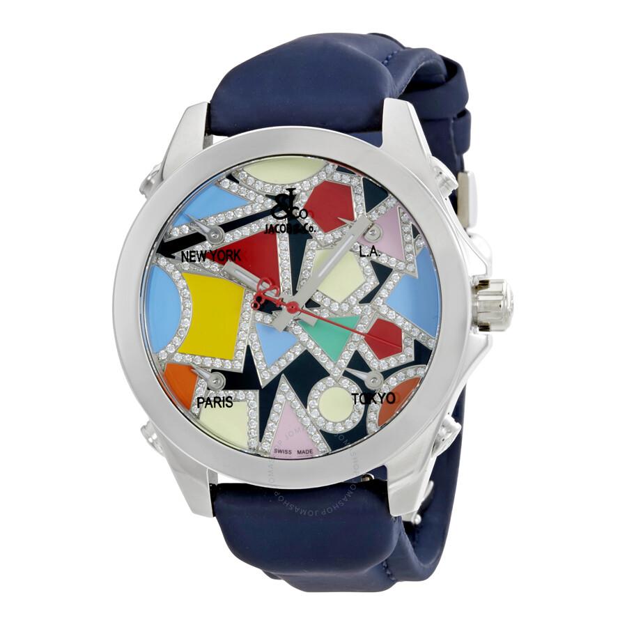 4c38fcec542eef Jacob and Co. Five Time Zone Multi-Color Dial Diamond Unisex Watch Item No.  JCM-133DA