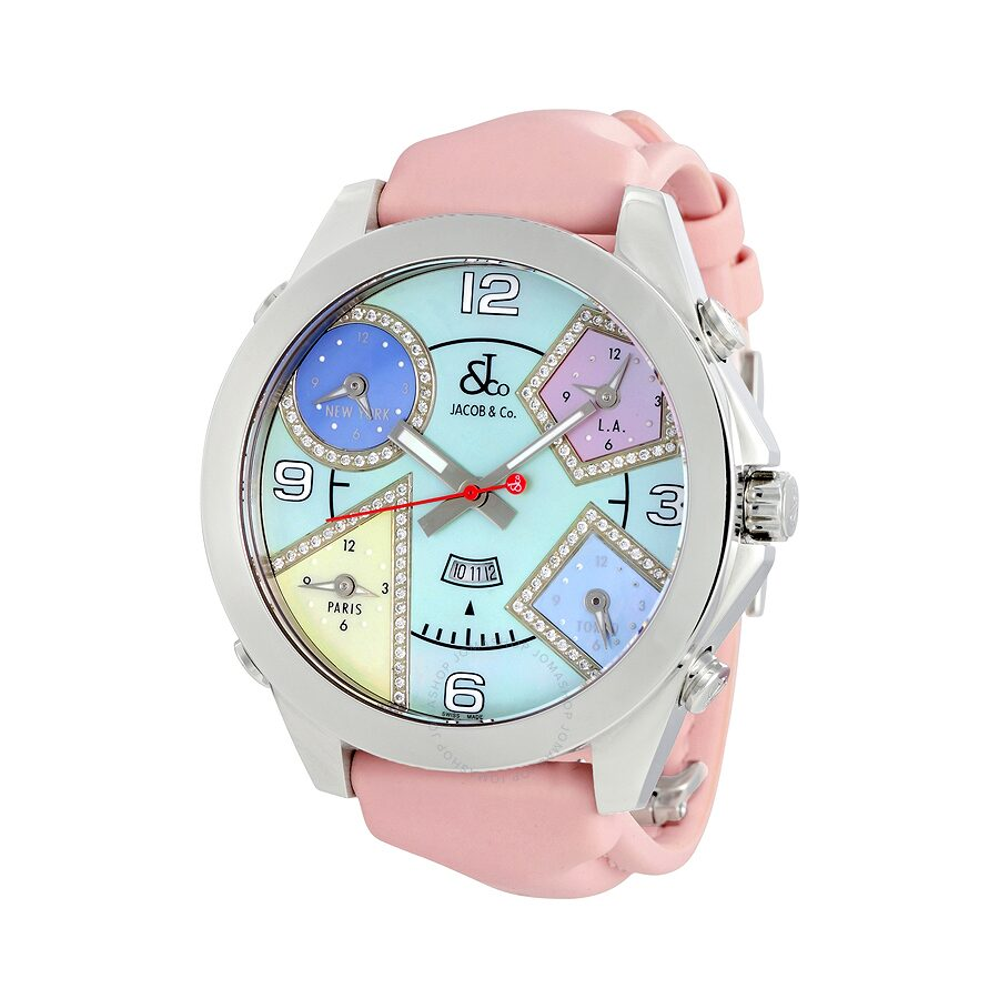 Jacob and co five time zone multi color mother of pearl diamond ladies watch jc 42da five for Watches jacob and co