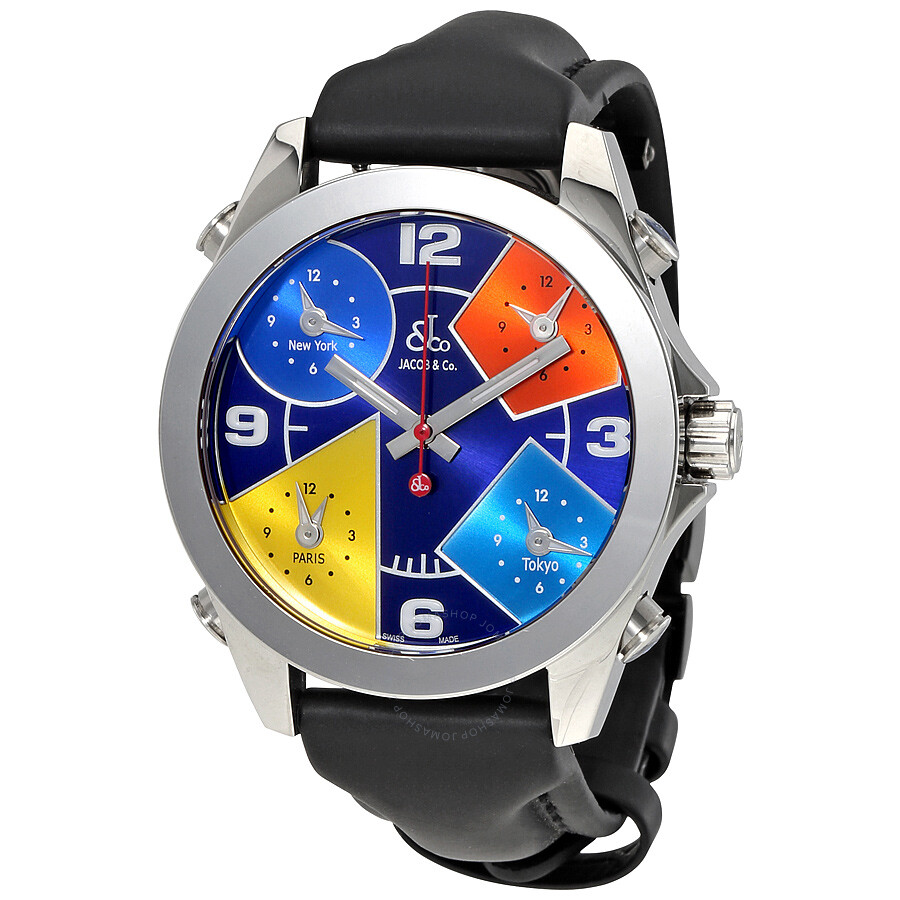 Jacob and co five time zones blue dial men 39 s watch jcm 55 five time zones jacob co for Jacob co watches