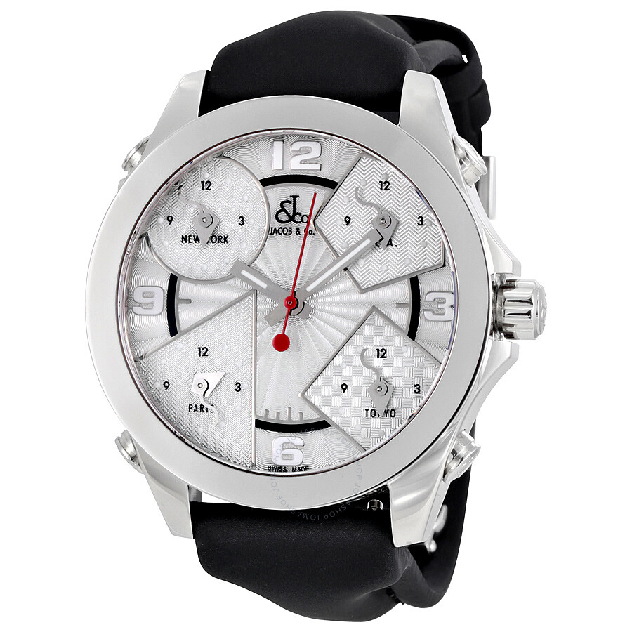 jacob and co five time zones silver dial men s watch jcm 3 five jacob and co five time zones silver dial men s watch jcm 3
