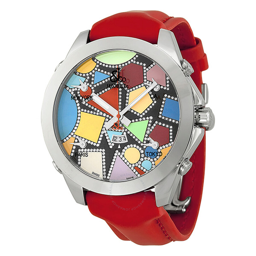 Jacob and company five time zone diamond accented multi colored dial unisex watch jcm113da for Watches jacob and co