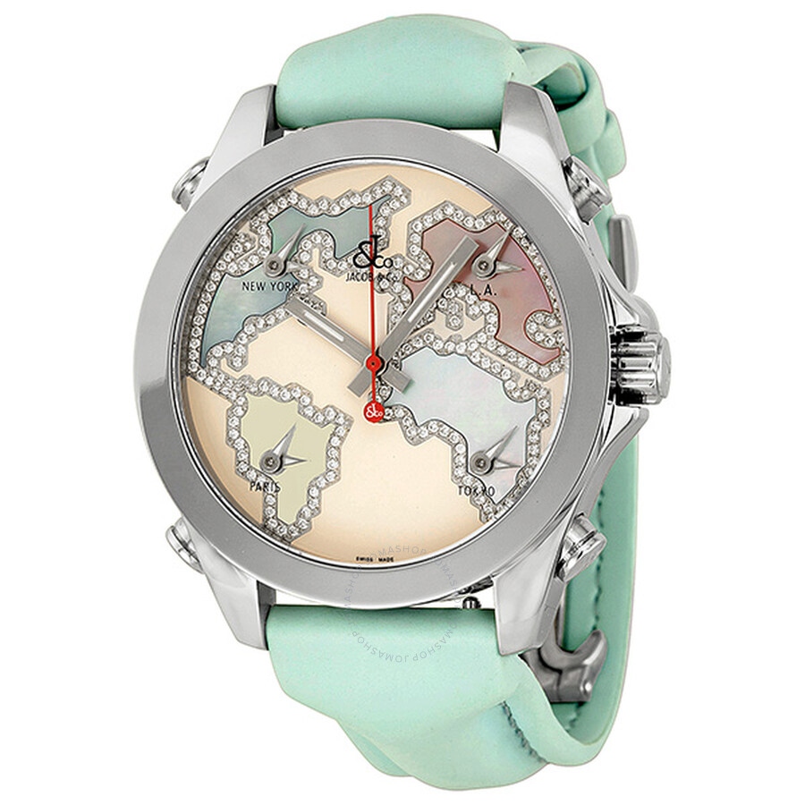 Jacob and company five time zone diamond accented pink enamel unisex watch jcm125 five time for Watches jacob and co