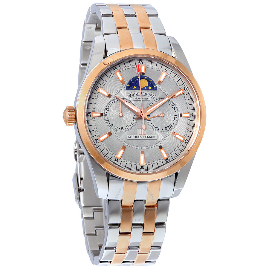 447d61c85c389a Jacques Lemans Liverpool Multifunction Moonphase Grey Dial Two-tone Men s  Watch 1-1596H ...