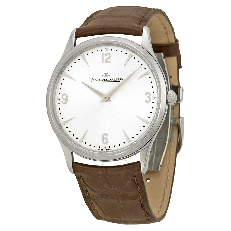 Jaeger le coultre master ultra thin silver dial brown leather men 39 s watch q1348420 master for Lecoultre watches