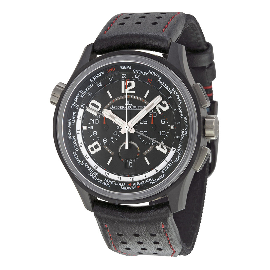 Jaeger lecoultre amvox worldtime automatic chronograph black dial black leather men 39 s watch for Lecoultre watches