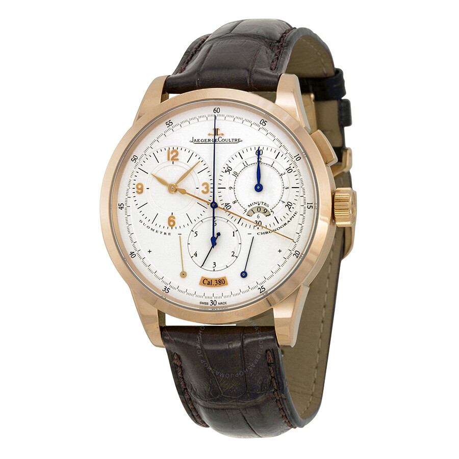 Jaeger lecoultre duometre 18k rose gold silver dial leather men 39 s watch q6012420 duometre for Lecoultre watches