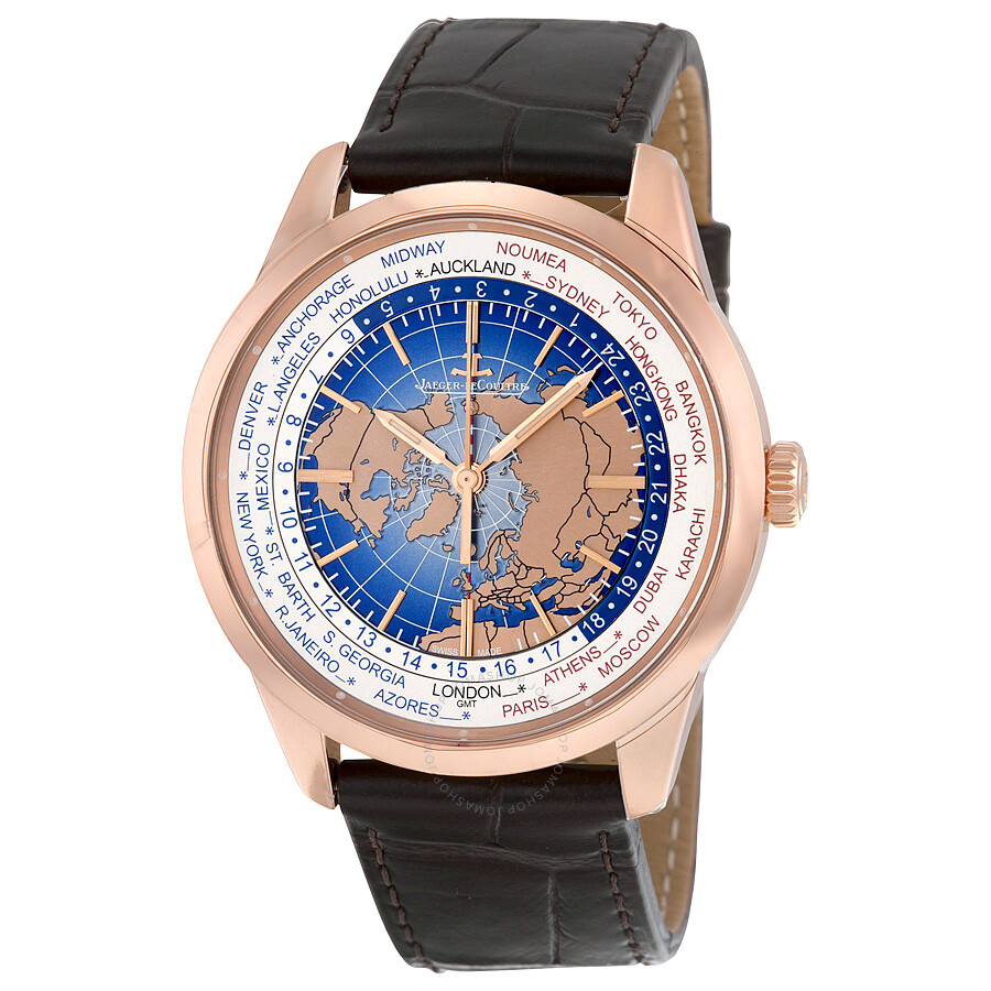 Jaeger lecoultre geophysic universal time automatic blue lacquer dial 18kt pink gold men 39 s watch for Lecoultre watches