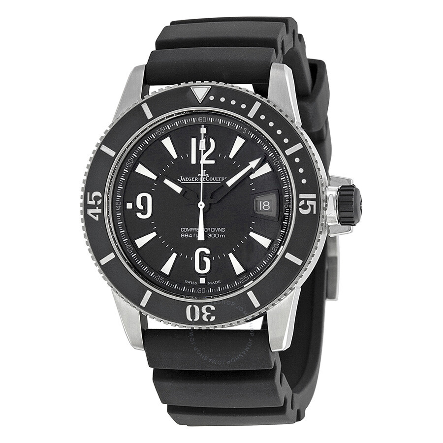 Jaeger lecoultre master compressor automatic black dial stainless steel rubber men 39 s watch for Lecoultre watches