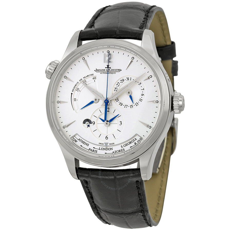 Jaeger lecoultre master geographic silver dial black leather men 39 s watch q1428421 master for Lecoultre watches