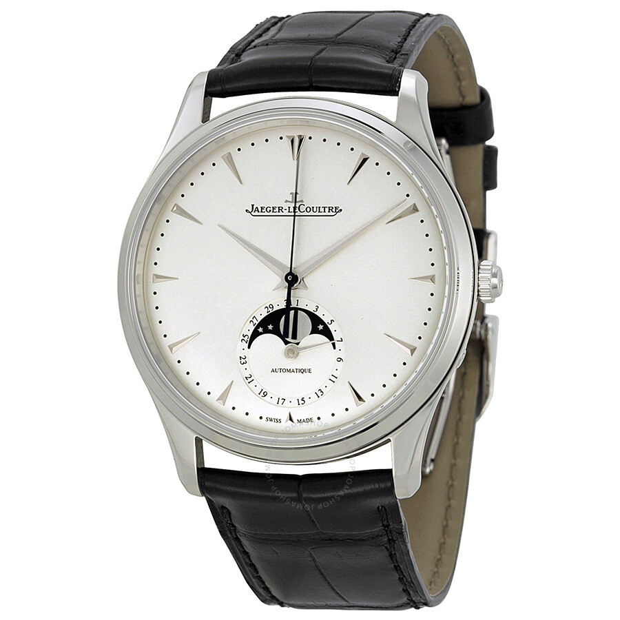 Jaeger lecoultre master silver dial leather men 39 s watch q1368420 master ultra thin master for Lecoultre watches