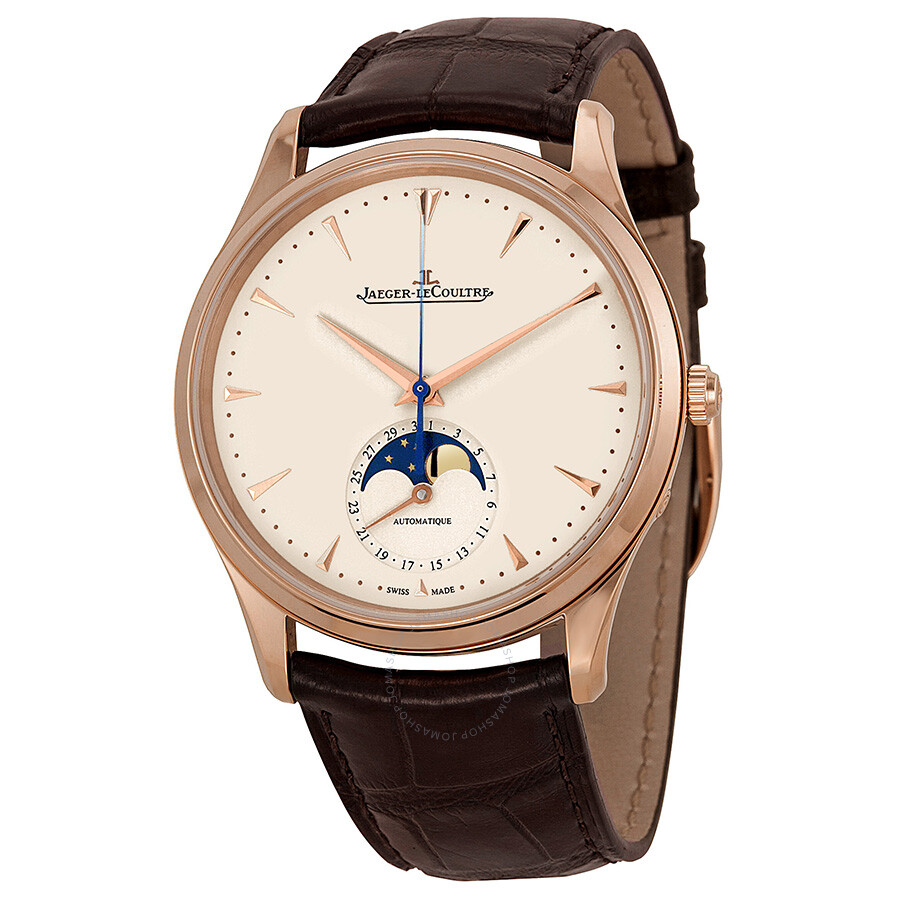 Jaeger lecoultre master ultra thin moonphase ivory dial brown leather men 39 s watch q1362520 for Lecoultre watches