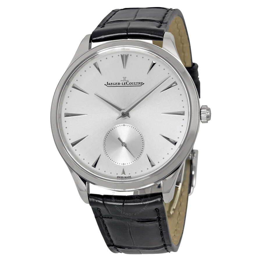Jaeger lecoultre master ultra thin silver dial black leather men 39 s watch q1278420 master ultra for Lecoultre watches
