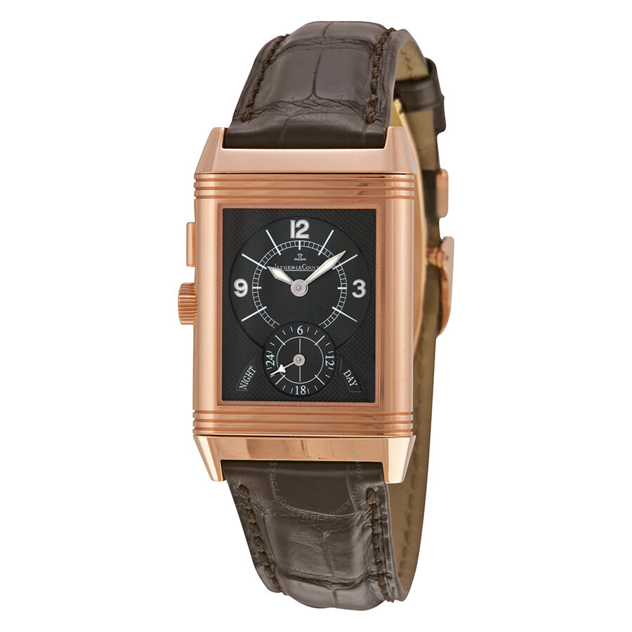 993d290e7de5 Jaeger LeCoultre Reverso Duo Silver Dial 18kt Rose Gold Brown Leather  Q2712410