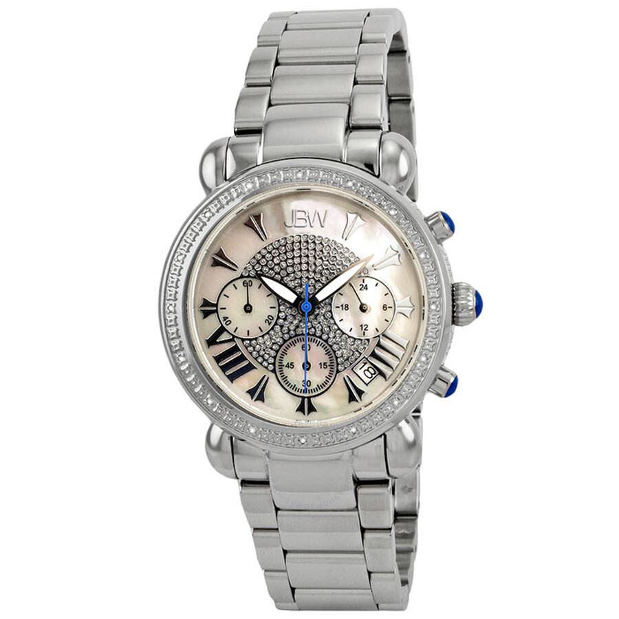e820120e0 JBW Victory Chronograph Mother of Pearl Dial Diamond Stainless Steel Ladies  Watch JB-6210- ...