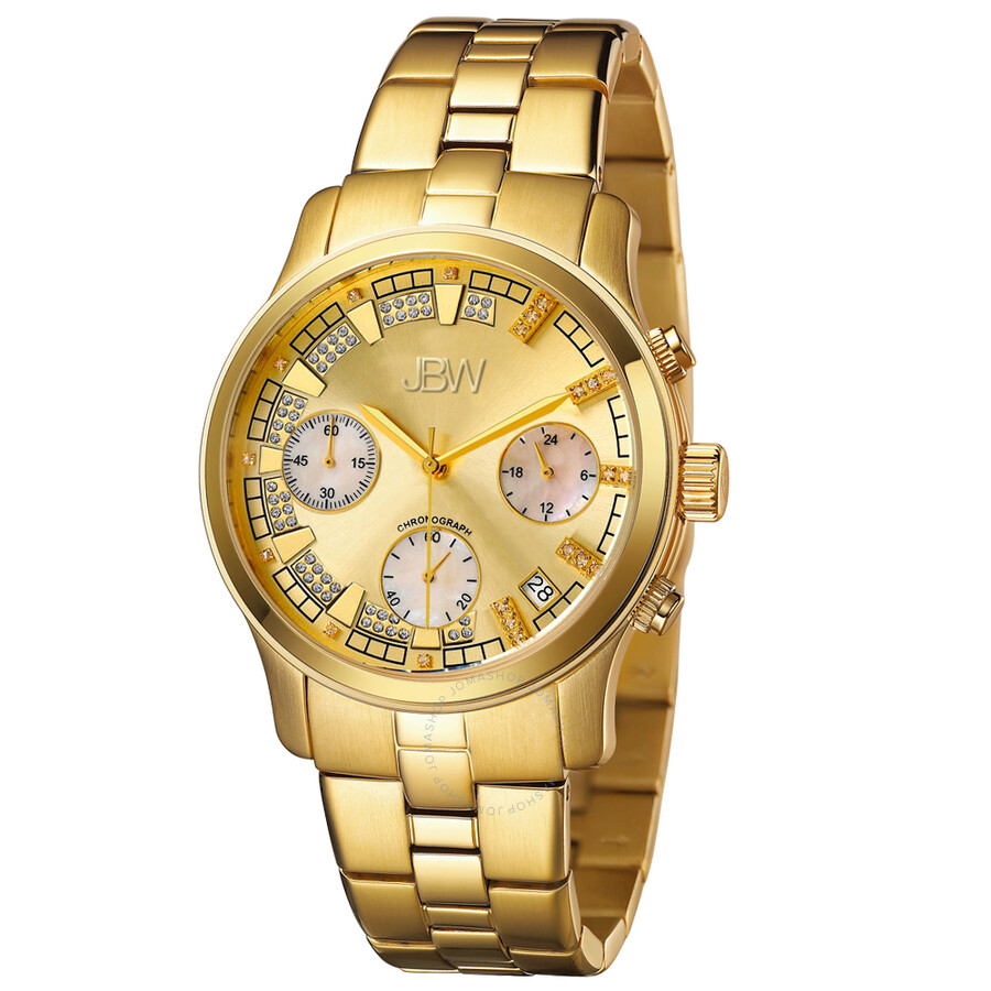Alessandra Diamond Chronograph Dial Gold Ladies Watch JB-6217-E