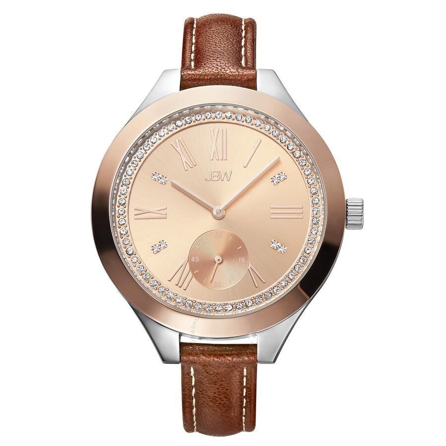 a618c745dbf JBW Aria Rose Gold-tone Diamond Dial Brown Calfskin Leather Strap Ladies  Watch J6309D ...