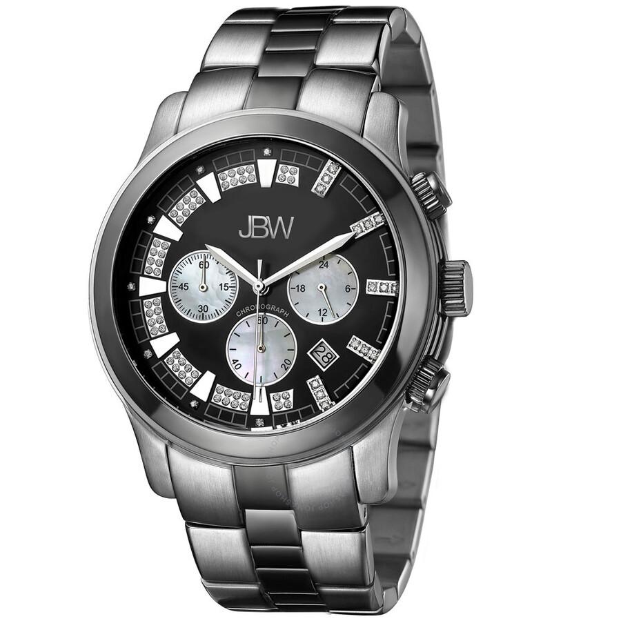 Jbw Delano Black Chronograph Diamond Dial Two Tone Steel Bracelet Men S Watch Jb 6218 A