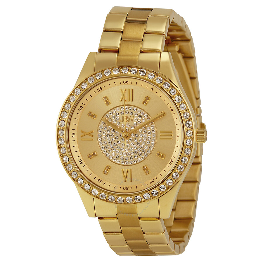 JBW Mondrian Gold Diamond Dial 18k Gold Plated Stainless ...