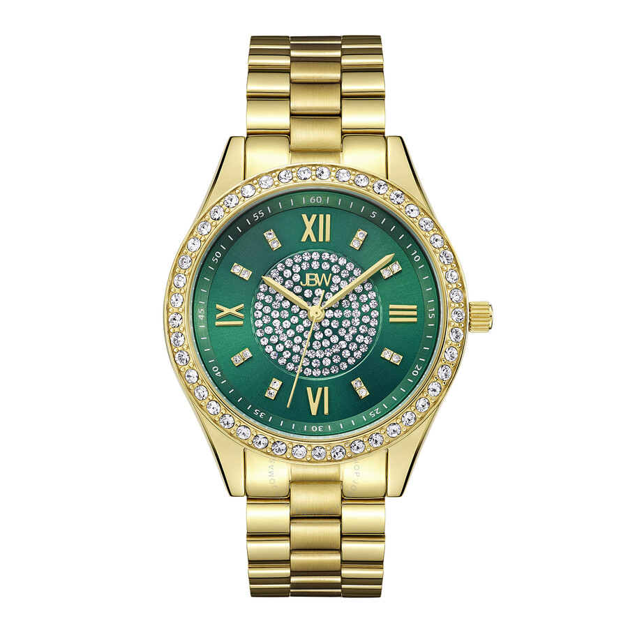 a23f4713f8 JBW Mondrian Green Diamond Dial 18k Gold Plated Stainless Steel Ladies  Watch J6303E ...