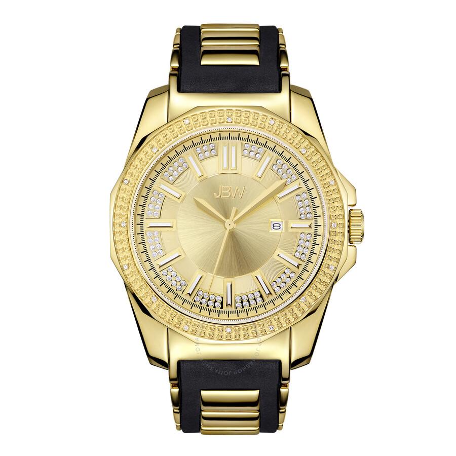 jbw regal gold tone sunray crystal dial black rubber and gold tone jbw regal gold tone sunray crystal dial black rubber and gold tone steel bracelet