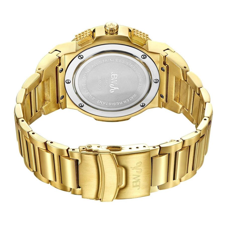 e48f3875f ... JBW Saxon Black Dial 18K Yellow Gold-Plated Stainless Steel Diamond  Men's Watch JB-