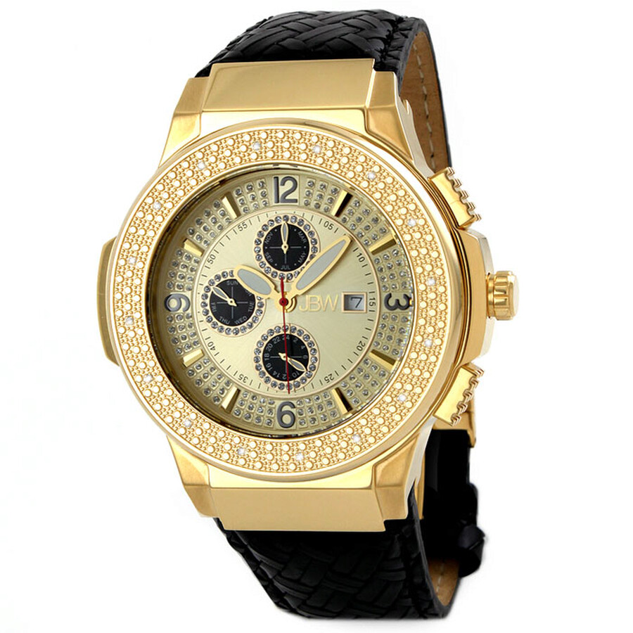 JBW Saxon Gold Dial Diamond Gold-tone Black Leather Watch