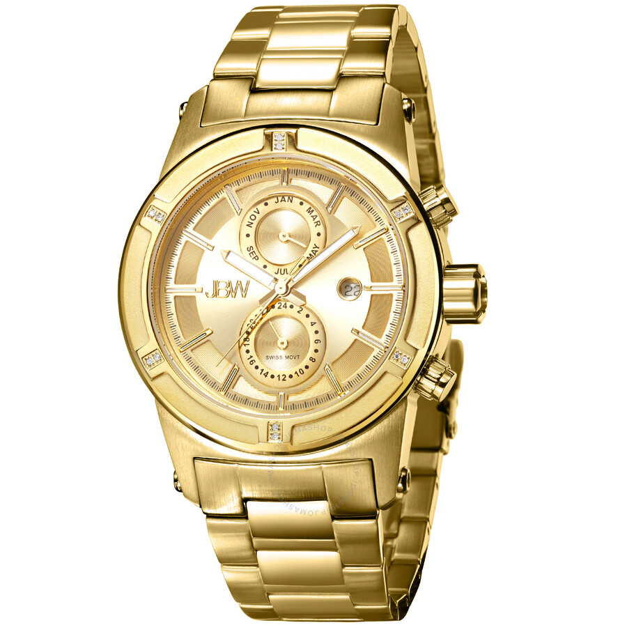 Jbw strider gold dial diamond men 39 s watch j6263e strider jbw watches jomashop for Diamond dial watch
