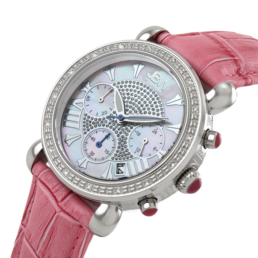 505794707 ... JBW Victory Diamond Bezel Chronograph Mother of Pearl Dial Pink Leather  Strap Ladies Watch JB- ...