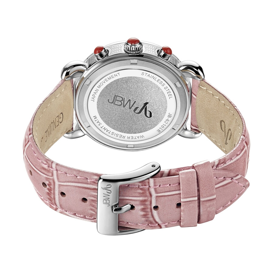 Victory Diamond Bezel Chronograph Mother of Pearl Dial Pink Leather Ladies Watch JB-6210L-E