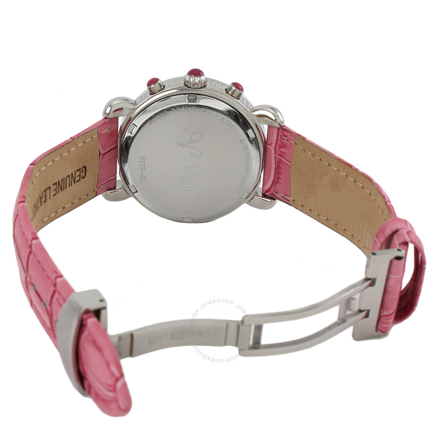 0171bb189 ... JBW Victory Diamond Bezel Chronograph Mother of Pearl Dial Pink Leather  Strap Ladies Watch JB-
