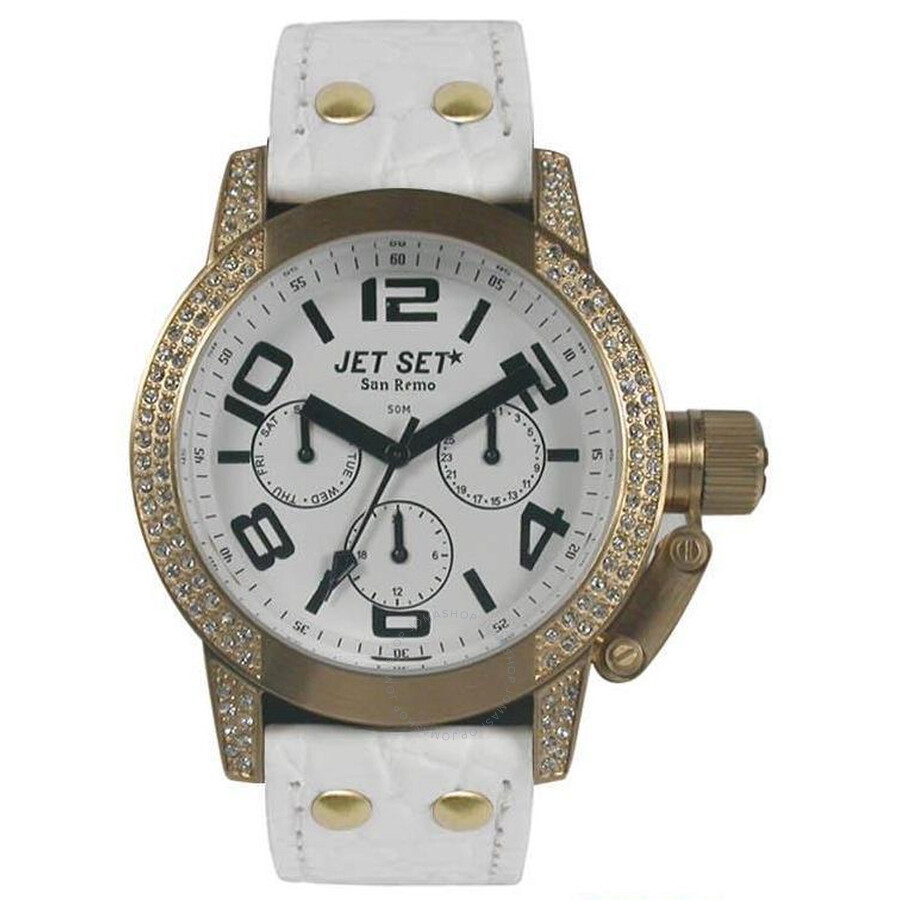 Jet Set of Sweden San Remo Dame Multi-function White Dial White Leather  Ladies Watch Item No. J3068S-131 fdd0663dc23