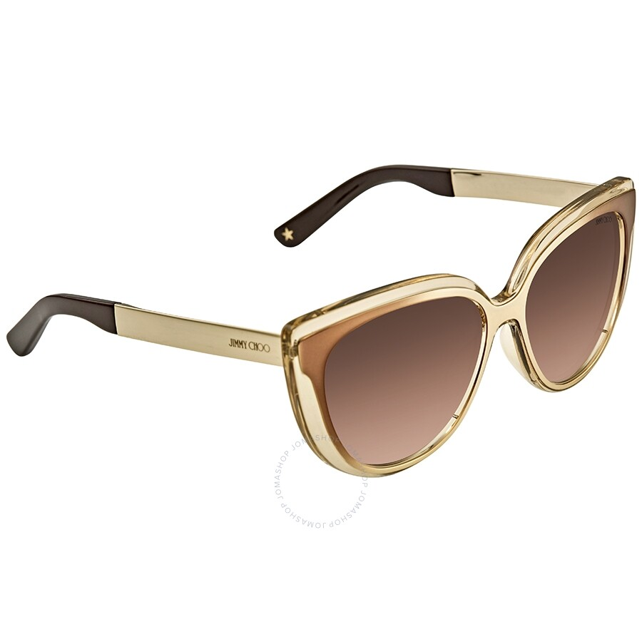 601ca0577983 Jimmy Choo Brown-Gold Cat Eye Sunglasses CINDY S 01M1 57 - Jimmy ...