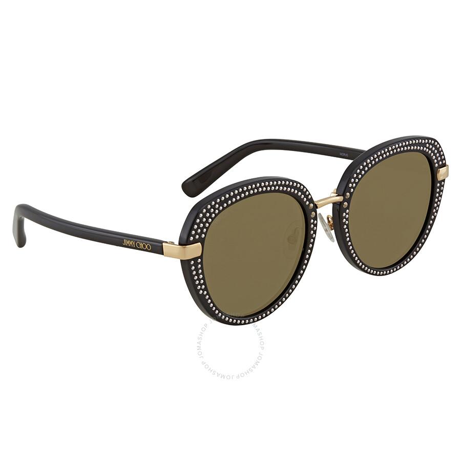 84174d8de424 Jimmy Choo Brown-Gold Round Sunglasses MORI S 52K1 52 - Jimmy Choo ...