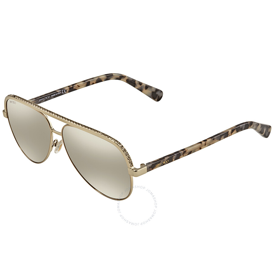 63c509aacbc0 Jimmy Choo Brown Mirror Gradient Aviator Sunglasses LINAS J8B 59 ...