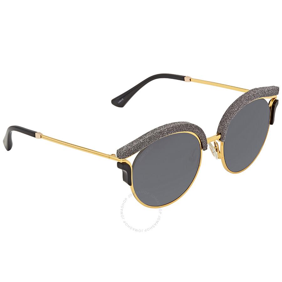 78ac7255fb2b Jimmy Choo Dark Grey Gradient Round Sunglasses LASH S 539O 53 ...